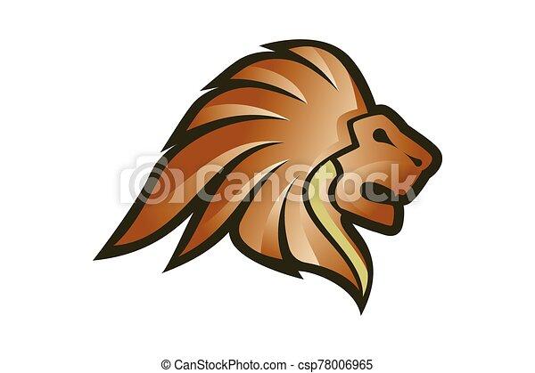 Lion Head Logo Vector Template Illustration Design, Wild Lion Head Mascot - csp78006965