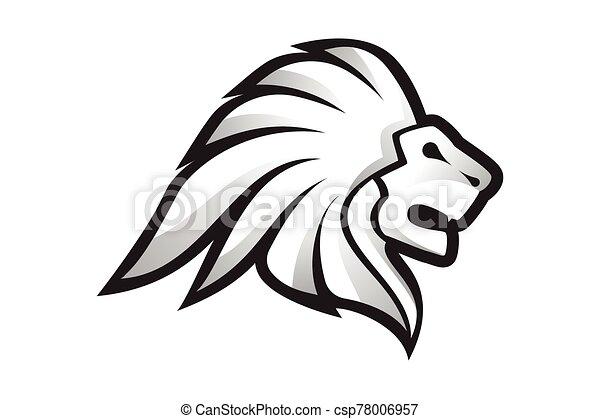 Lion Head Logo Vector Template Illustration Design, Wild Lion Head Mascot - csp78006957