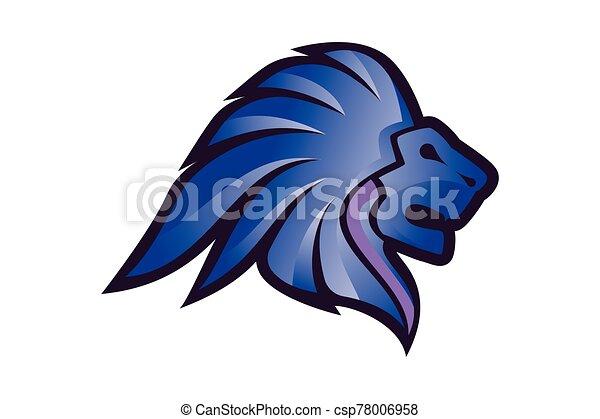 Lion Head Logo Vector Template Illustration Design, Wild Lion Head Mascot - csp78006958