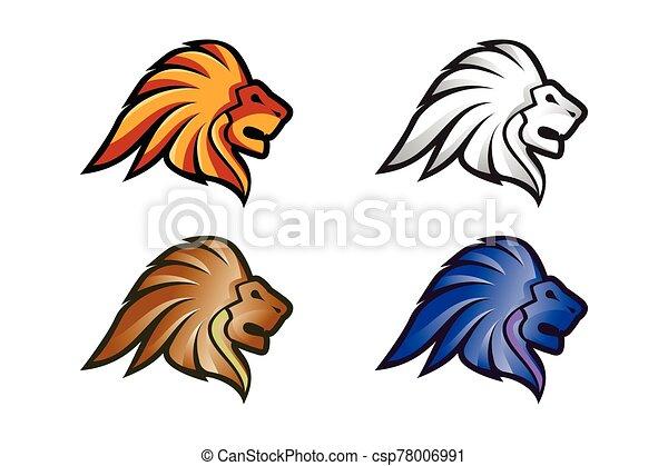 Lion Head Logo Vector Template Illustration Design, Wild Lion Head Mascot - csp78006991