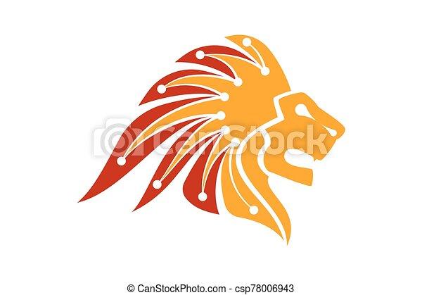 Lion Head Logo Vector Template Illustration Design, Technology logo concept - csp78006943