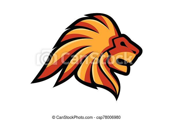 Lion Head Logo Vector Template Illustration Design, Wild Lion Head Mascot - csp78006980