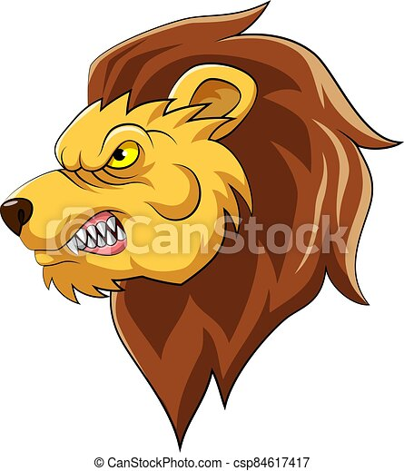 Lion Head Mascot Illustration - csp84617417