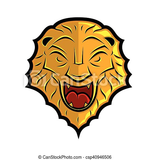 Lion Head Shield Design - csp40946506
