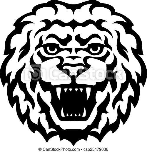 Lion Head Tattoo - csp25479036