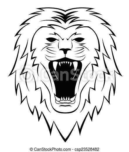 Lion Head Tattoo Illustration - csp23528482