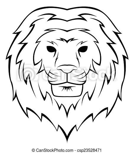 Lion Head Tattoo Illustration - csp23528471