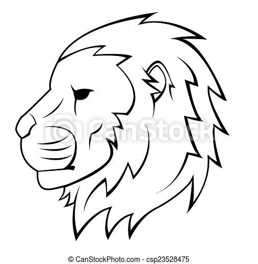 Lion Head Tattoo Illustration - csp23528475