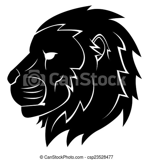 Lion Head Tattoo Illustration - csp23528477