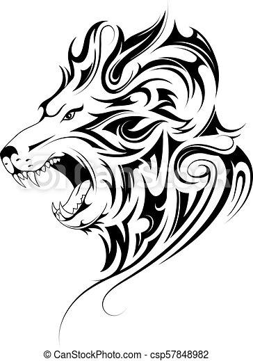 Lion head tribal tattoo - csp57848982