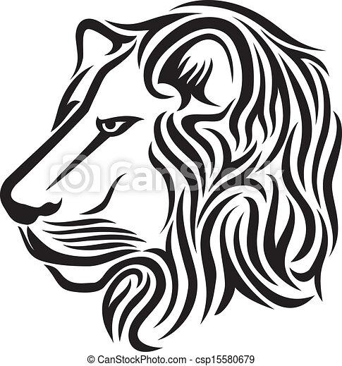 Lion head tribal tattoo - csp15580679
