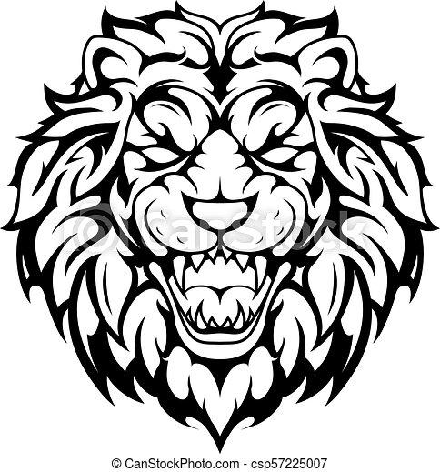 Lion head tribal tattoo - csp57225007