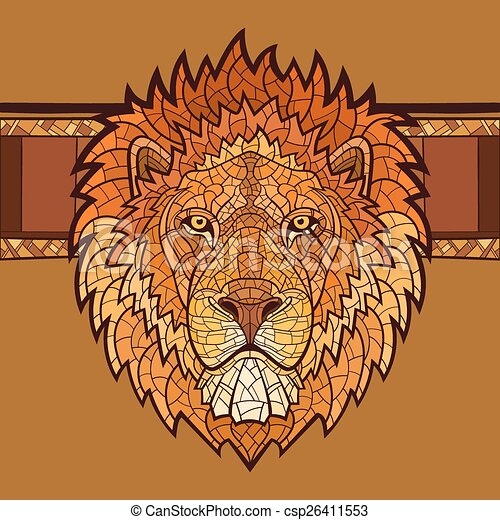 Lion head with ethnic ornament - csp26411553