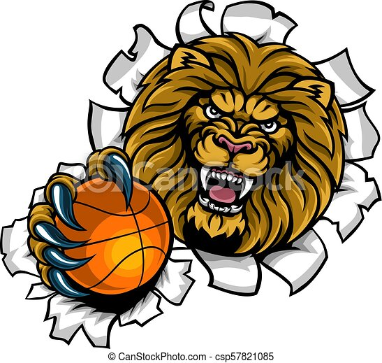 Lion Holding Basketball Ball Breaking Background - csp57821085
