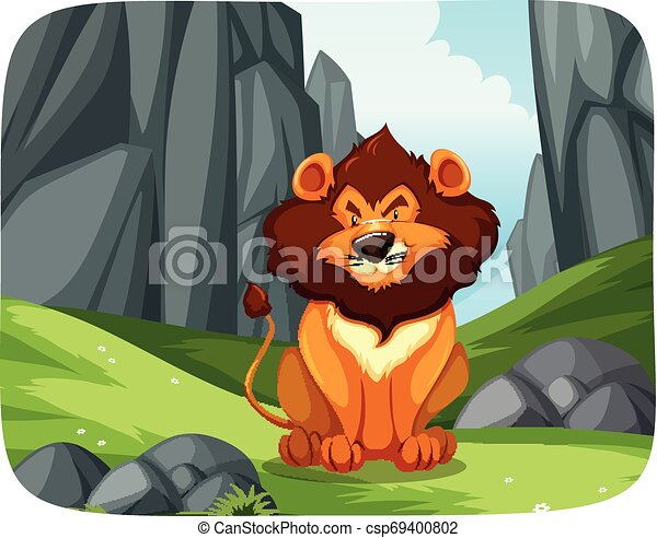 Lion in nature scene - csp69400802