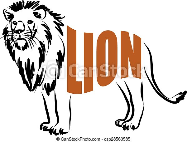 Line Art Lion : Lion lettering illustration vector search clip art