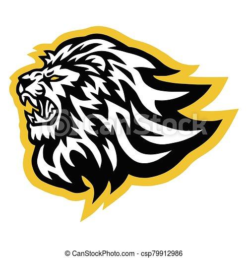 Lion Logo Vector Line Art Illustration Design - csp79912986