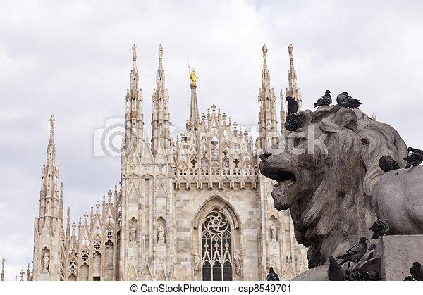 Lion of Vittorio Emanuele II monument in Milan - csp8549701