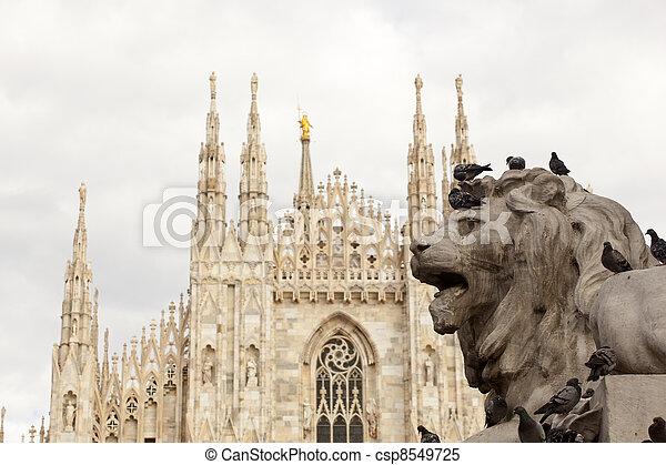 Lion of Vittorio Emanuele II monument in Milan - csp8549725