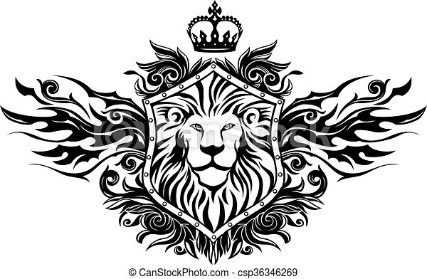 Lion On Shield Insignia - csp36346269