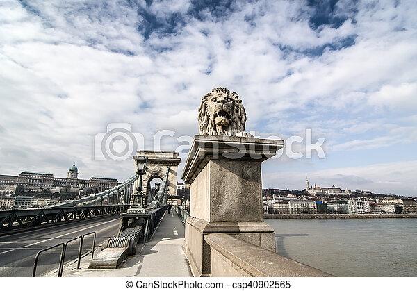 Lion on the Szechenyi Chain Bridge in Budapest, Hungary. - csp40902565