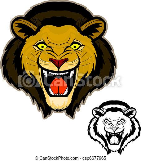 Lion Rugir Tête Mascotte