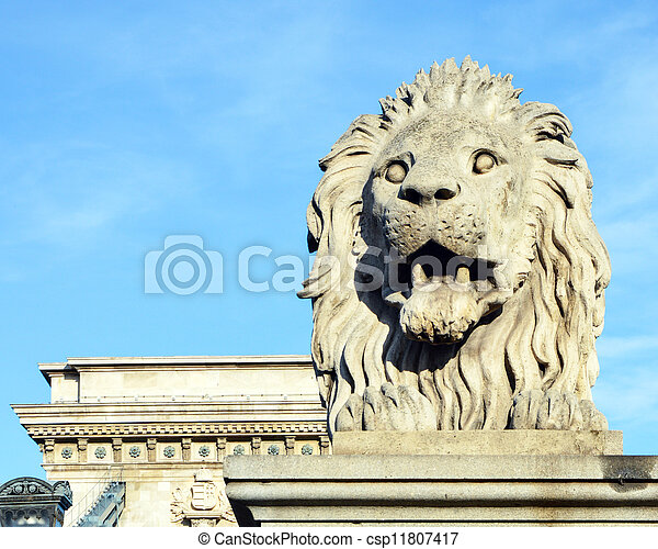 Lion sculpture on the Szechenyi Chain Bridge in Budapest - Hungary - csp11807417