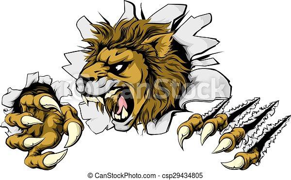 Lion smashing out - csp29434805