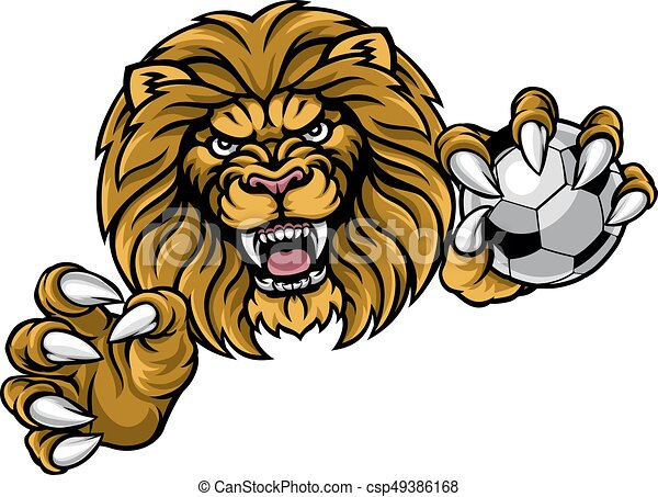 lion soccer ball sports mascot a lion angry animal sports clip rh canstockphoto com