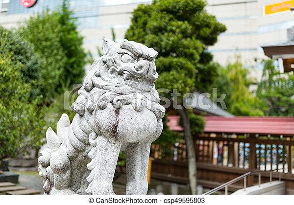 Lion Statue In Japanese Garden   Csp49595803