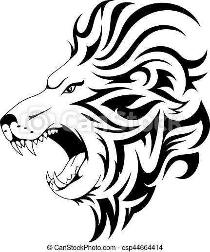Lion tribal tattoo design - csp44664414