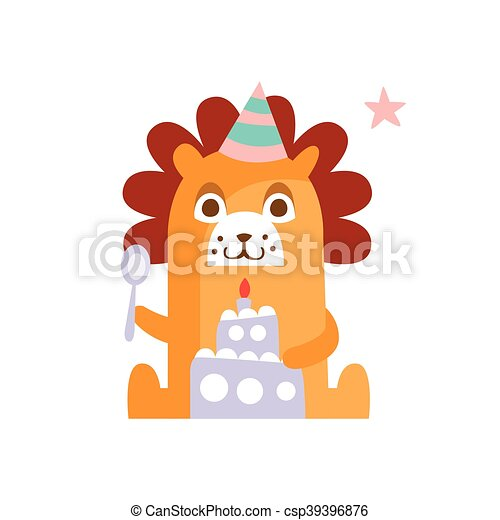 Lion With Party Attributes Girly Stylized Funky Sticker - csp39396876