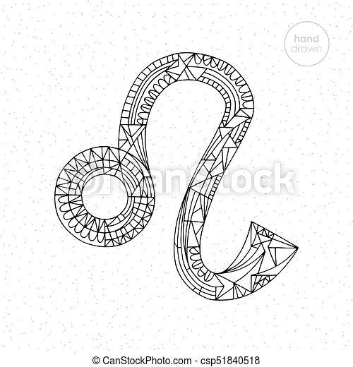 Lion zodiac sign. vector hand drawn horoscope leo ...