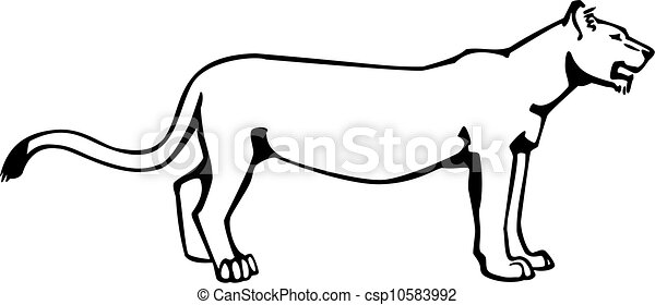 vector drawing of a lioness standing sideways eps vectors search rh canstockphoto com lioness clipart free lioness clipart images