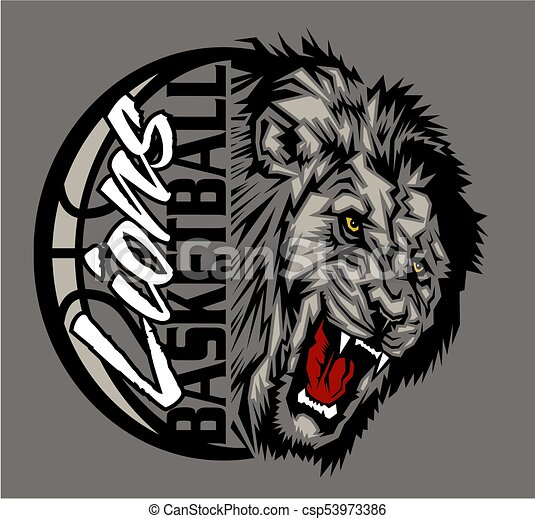 Lions basketball team design with ball and half mascot for ...