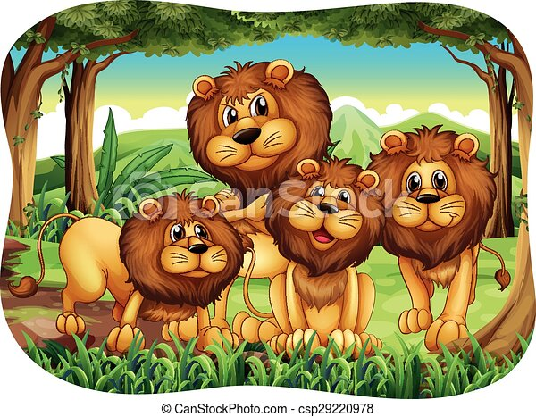 lions four lions living in the forest rh canstockphoto com lion clip art images lion clip art and graphics