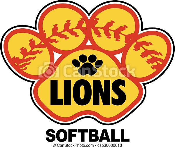lions softball design with stitches inside paw print vector clip art rh canstockphoto com  free softball logo clip art