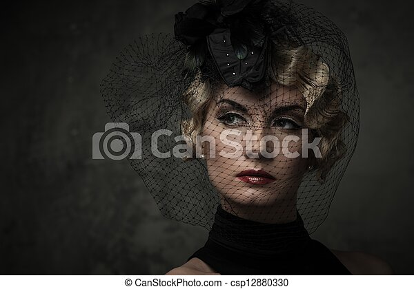 lippenstift, hut, blond, wenig, schleier, elegant, frau, rotes , tragen, retro - csp12880330