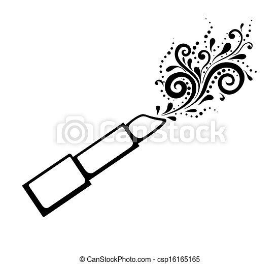 Lippenstift, schwarzweiss, pattern., druck, blumen-,... Clipart ...