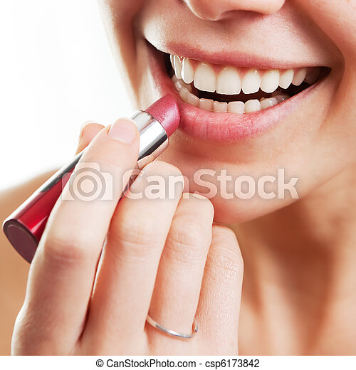 Lipstick and female lips - csp6173842