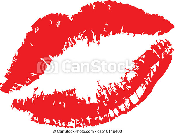 Lipstick kiss on white - csp10149400