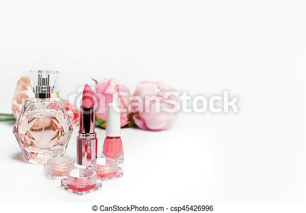 lipstick., mode, polnisch, raum, sachen, noch, knall, parfüm, nagel, hintergrund., frau, frei, weibliche , text, life., weisse blumen, flasche