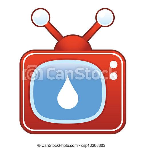 Liquid drop on retro television - csp10388803