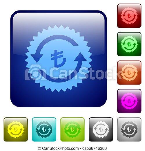 Lira pay back guarantee sticker color square buttons - csp66746380