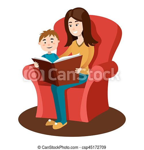 Lire Mere Dessin Anime Vecteur Enfant Livre