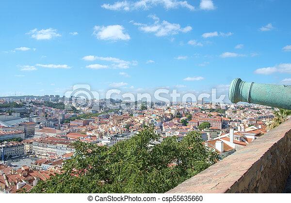 Lisbon Castle View with Canon - csp55635660