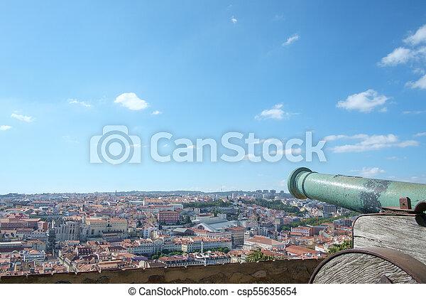 Lisbon Castle View with Canon - csp55635654