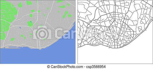 mapa vectorial lisboa Illustration city map of lisbon in vector. mapa vectorial lisboa