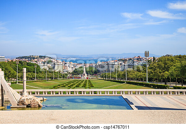 Lisbon landmark, aerial view of praca or square Marques de Pombal. Portugal. - csp14767011
