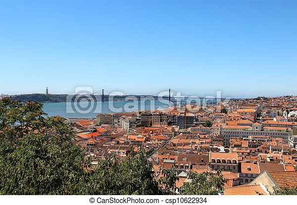 Lisbon panorama, Portugal ? buildings, roofs, churches - csp10622934